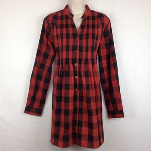 Woman Within Button Shirt Tunic Top Buffalo Plaid